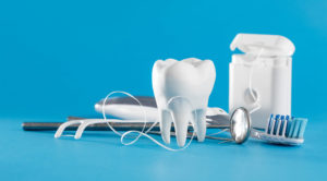 dental tools, toothbrush, floss, pick, dental care concept
